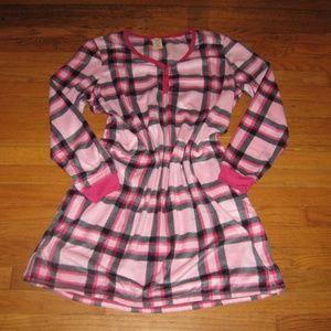 Fleece Night Shirt Gown New Pink Plaid Warm NEW