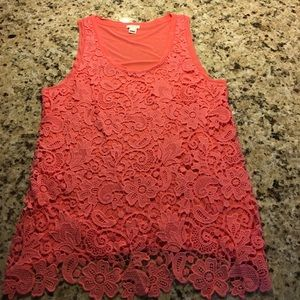 J.Crew Coral Lace Sleeveless Blouse