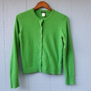 J. Crew Green Gem Button Wool Cashmere Cardigan M