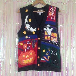Vtg HALLOWEEN pumpkin moon 90s sweater vest T7