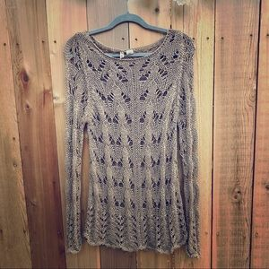 MOTH Anthropologie Taupe Knit Sweater
