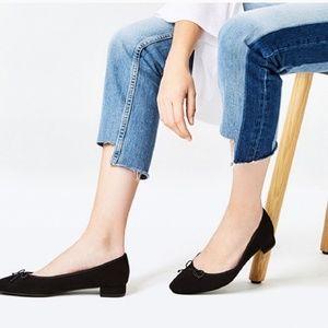 Zara Trafaluc Black Patent Block Heel Ballerinas