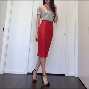 High waisted red pencil skirt 💋