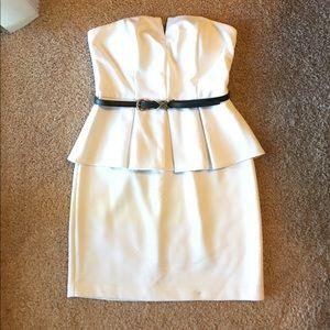 White strapless peplum dress size 8