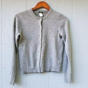 J. Crew Grey Cardigan Gem Button M Wool Cashmere