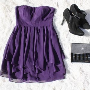 Ark & Co Purple Chiffon Strapless Dress