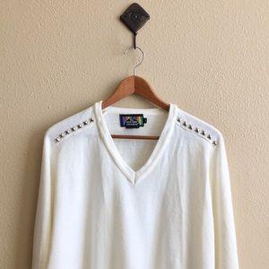 '70s / Cream Studded Sweater