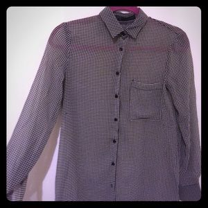 Zara houndstooth see through button down shirt
