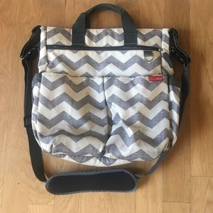 Grey & White Skip Hop Chevron Diaper Bag