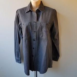 HARLEY-DAVIDSON Women's Charcoal Button Down Shirt