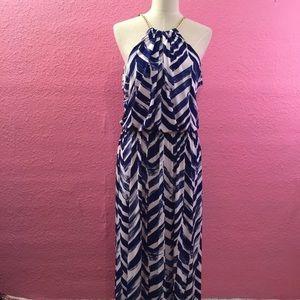 Maxi dress chain detail blue white