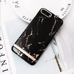 Accessories - ✨New! Rose Gold/Black Marble iPhone Case