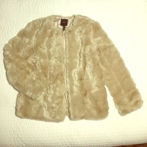 Forever21 champagne faux fur coat, size large