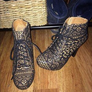 Lace combat bootie heels
