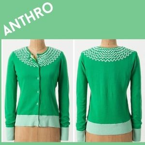 Anthropologie Tabitha Cardigan green snap front S