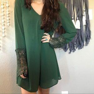 Altar'd State green lace velvet tie back dress