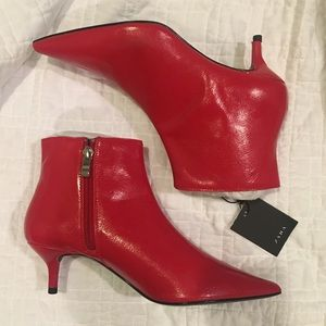 Zara Red Ankle Boots with Kitten Heels 37 6.5/7