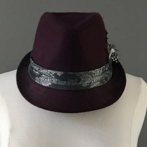 Dark Maroon Fedora Hat with Ribbon and Feather