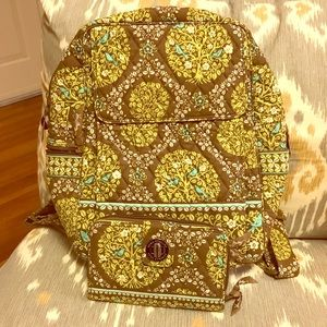 Vera Bradley Backpack/Wallet Set - great condition