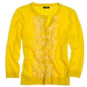 J. CREW Yellow Cotton/Cashmere Primrose Cardigan S
