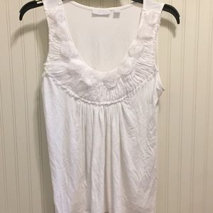 New York and Company floral trim pleated tank