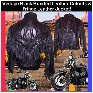 VTG Cool Leather Fringe & Cutout Motorcycle Jacket