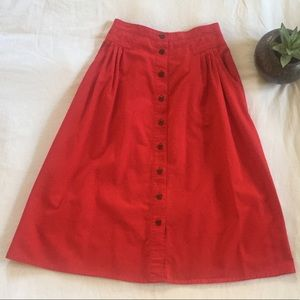 Vintage Red Button Down Skirt w Pleats and Pockets