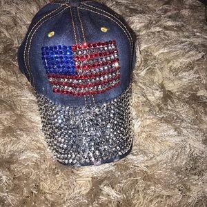 Distressed America flag adjustable hat