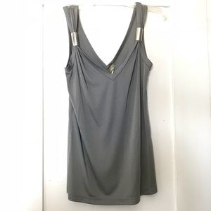 Gray Tank Top with Silver Detail