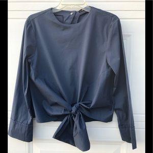 Zara Woman Periwinkle Top Tie Front Blouse