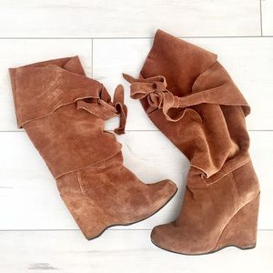 Jeffery Campbell suede wrap wedge boots