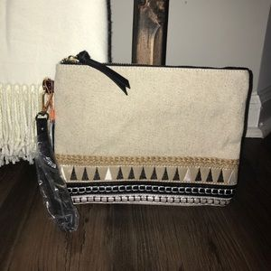 Handbags - Clutch Wristlet Black & Gold Embroidery Purse Bag
