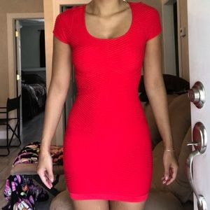 Red short sleeve fitted mini dress