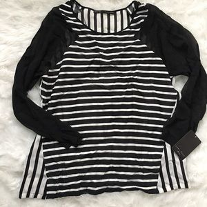 Zara Basic White:Black Striped Blouse NWT