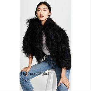 Black Mongolian Lamb Curly Fur Jacket Vest NWT S-L