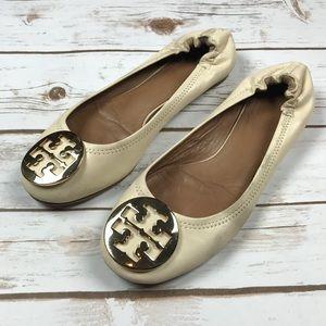 Tory Burch Cream Gold Reva Flats size 8.5