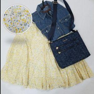 BANANA REPUBLIC Skirt Yellow Flowers Print Sz S