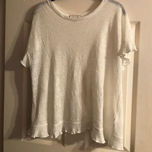 Anthropologie White Short Sleeve Ruffle Shirt