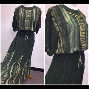 Vtg Artsy CAROLE LITTLE GREEN RAYON MAXI DRESS 8