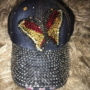 💎💎Blinged out distressed butterfly jean hat