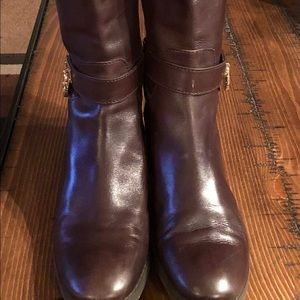 Michael Kors Tall Brown Leather MK boots.