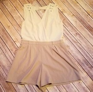 Cream & Tan Embellished Romper