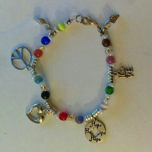 Peace Love Hope rainbow charm bracelet