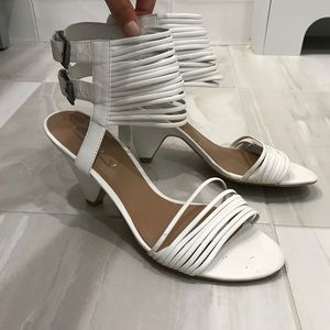 Zara White Leather Sandals