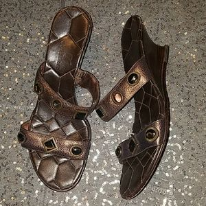 Cole Haan Bronze Brown Wedge Sandals