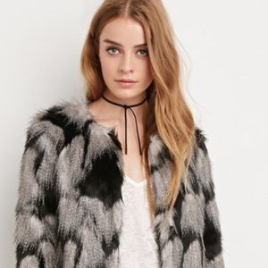 *Re-Listed* NWT F21 Grey/Black Faux Fur Coat