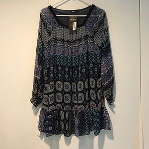 NWT Hippie Bohemian Print Drop Waist Dress
