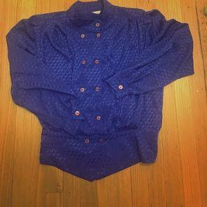 Royal blue polyester blouse