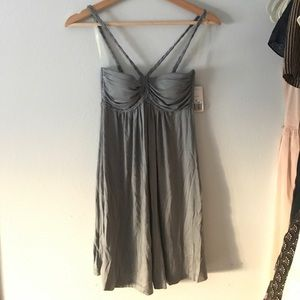 Grey Jersey Dress with Braided Straps