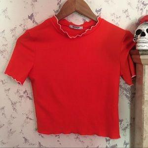 Zara Trafaluc neon orange ribbed shirt